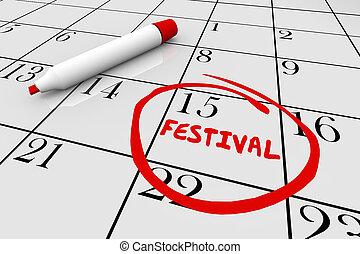 Festival Party Carnival Day Date Calendar 3d Illustration