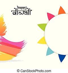 festival, plakat, diwali, indisk, konstruktion, glade