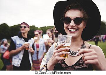 festival, portrait, femme