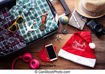 festival, resa, planerande, jul