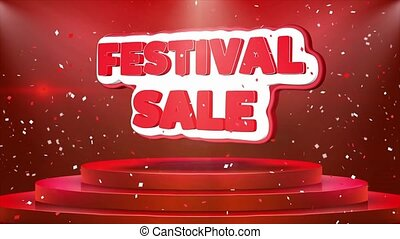 Festival Sale Text Animation Stage Podium Confetti Loop...