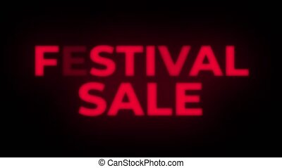 Festival Sale Text Flickering Display Promotional Loop. -...