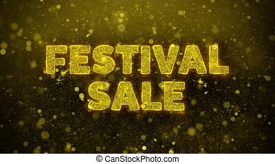 Festival Sale Text Golden Glitter Glowing Lights Shine Particles. Sale, Discount Price, Off Deals, Offer promotion offer percent discount ads 4K Loop Animation.