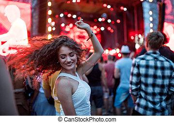 festival., schöne , sommer, woman, tanzt, junger