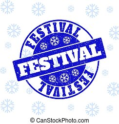 Festival Scratched Round Stamp Seal for Christmas