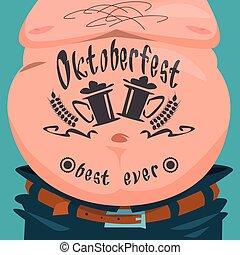 festival, tatuaggio, bandiera, pancia, oktoberfest