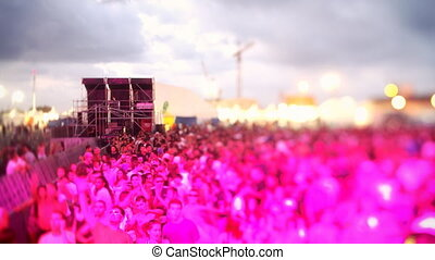 festival, timelapse, vue, foule, gens