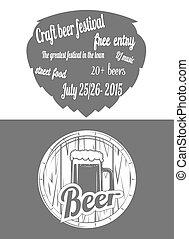 festival, two-color, cerveja, flayer.