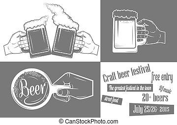 festival, two-color, cerveja, poster.