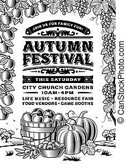 festival, vendange, automne, noir, affiche, blanc