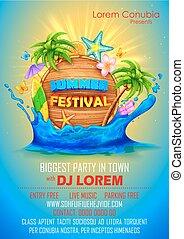 festival, verão, desenho, cartaz