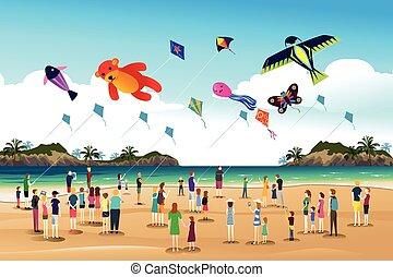 festival, voler, cerfs volants, cerf volant, gens