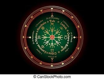 festivals, cycle, saisonnier, wiccan, holidays., compas, pagans., pentagram, calendrier, moderne, roue, annuel, beaucoup, vegvisir, celtique, année, solstices, observé, symbole, nordique, noms