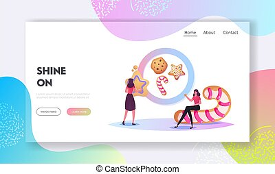 Festive Activity Preparation for Xmas or New Year Holidays Celebration Landing Page Template. Characters Baking Cookies