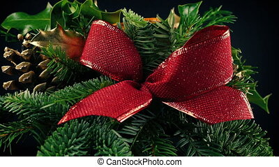 Festive Arrangement With Pine Cones And Bow - Rotating...