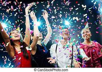 Festive atmosphere - Four friends making having fun among ...