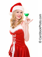 Festive attire - Attractive blond woman wearing sexy red and...