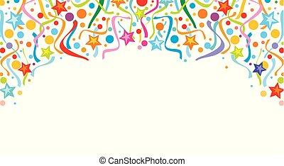 (festive, background), banderoles, conception, fond, confetti, fête, conception, célébration