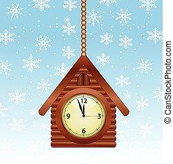 festive background with a clock