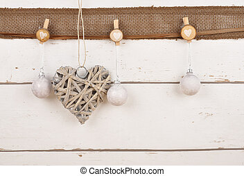 Festive background with Christmas baubles