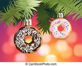 Festive background with donuts - decorations for the Christmas tree