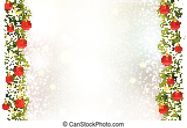 Festive background with fir border, red Christmas baubles and golden stars