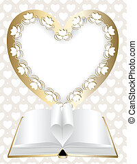 Festive background with frame in shape of heart and an open book