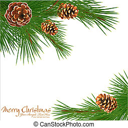 Festive background with gree spruce