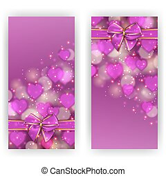 Festive background with hearts, bokeh