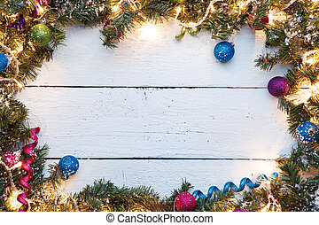 Festive background with wooden surface and Christmas...