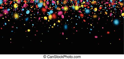 Black festive banner with colorful blurred confetti. Vector illustration.