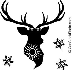 Festive black silhouette of a deer head, on a white background.
