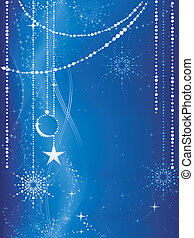 Festive blue Christmas background with stars, snow flakes, baubles and grunge elements.