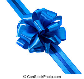 Festive blue gift ribbon and bow isolated on white background cu