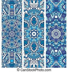 Festive blue ornamental tribal vector banner set