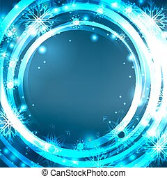Festive blue postcard with glowing sparkles