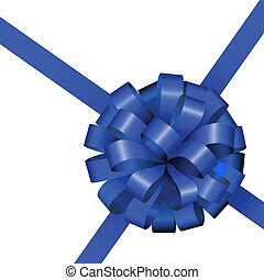 Festive blue ribbon and bow isolated on white background.