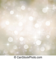 Festive gold Christmas abstract background with bokeh lights and stars.