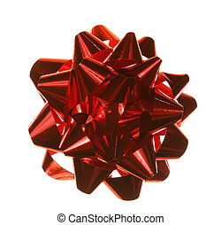 Festive bow - An isolated red bow, for decorating a parcel