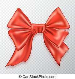 Festive bow, red satin, isolated on checkered background