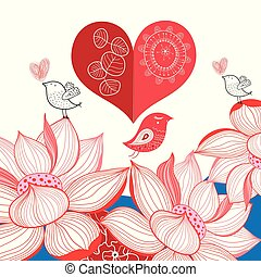 Festive bright card with birds in love