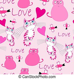 Festive bright pattern with cats in love