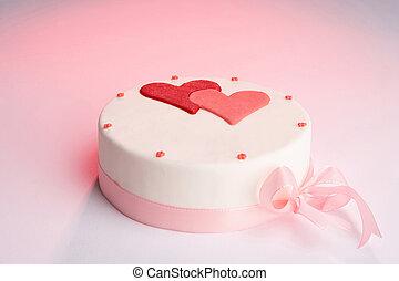festive cake - white tarte with hearts