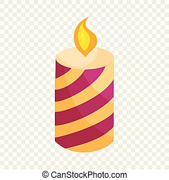 Festive candle icon, cartoon style