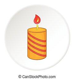 Festive candle icon, cartoon style