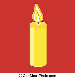 festive candle on a red background