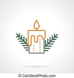 Festive candle simple color line vector icon