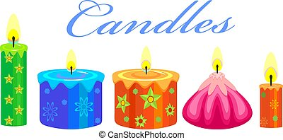 Festive Candles - colorful festive candle wax with green...
