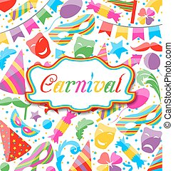 Festive card with carnival and party colorful icons and...