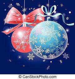 Festive card with Christmas balls